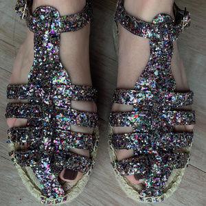NWOT Kate Spade Glitter Platform Espadrilles